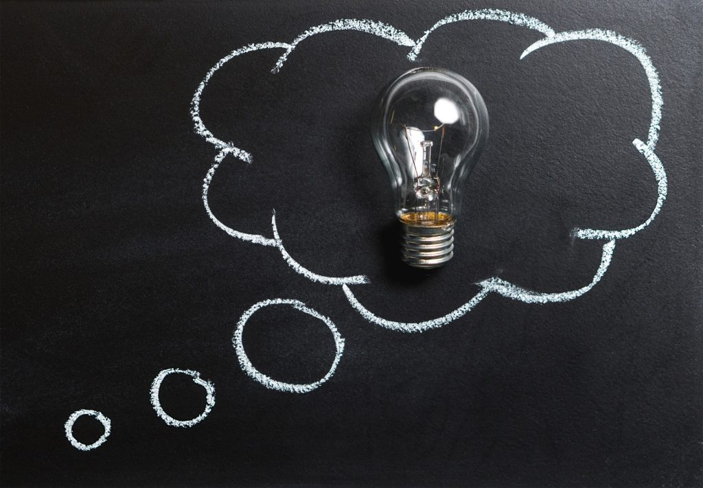 Inovation and new ideas: The thinking bubble with idea bulb